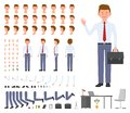 Office manager cartoon character constructor design set. Young adult worker in business clothes with briefcase standing. Royalty Free Stock Photo
