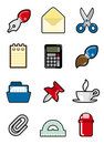 Office objects icon set Royalty Free Stock Photo