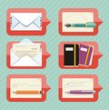 Office objects icon set in chat bubble Royalty Free Stock Photo