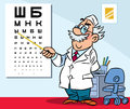In the office of an ophthalmologist illustration shows his illustration done cartoon style Royalty Free Stock Photo
