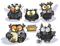Office owls cartoon group of in appearance Stock Photos