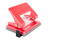 Office paper hole puncher on white background red Stock Photography