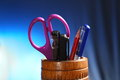Office pencil holder with contents Stock Photo