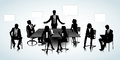 Office people set of business silhouettes on the background Royalty Free Stock Photography