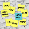 Office politics scandal rumors lies gossip sticky notes many yellow with words scandals back stabbing spying enemies allies Royalty Free Stock Images