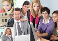 Office portraits collage of daily life in an Royalty Free Stock Photography