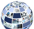 Office and professional work concept presented in multi picture collage in the shape of a globe Stock Photos