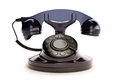 Office retro telephone black on a white background Stock Photo