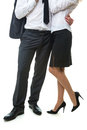 Office romance man hugging a woman s waist of young managers business clothes Stock Images