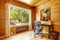 Office room with solid wood planks cozy window and Stock Images