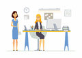 Office Scene - modern vector cartoon business characters illustration Royalty Free Stock Photo