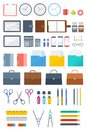 Office, business supply and stationery flat vector icon set. Royalty Free Stock Photo