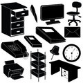 Office silhouettes items Royalty Free Stock Photography