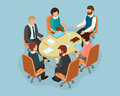 Office staff at the round table in the process of discussing