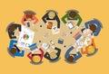 Office staff team around table: vector flat brainstorm report