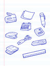 Office stationery icons on note pad Stock Images