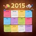 Office Stickers Calendar 2015 calendar on Wooden