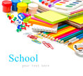 Office and student accessories on a white back to school concept Stock Image