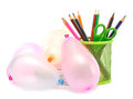 Office supplies and balloons Stock Photo