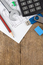 Office supplies on drafting over wood Royalty Free Stock Photo