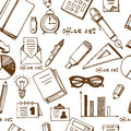 Office supplies and equriment set seamless Royalty Free Stock Photo