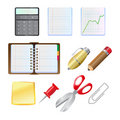 Office supplies icon set Stock Photo