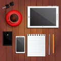 Office supplies, paper, purse, keys, coffee Royalty Free Stock Photo