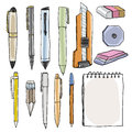 office supplies pencil pens cutter eraser illustration