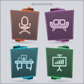 Office supply house related objects from left to right chair sofa desk board banner vector icons set saved as an eps Royalty Free Stock Photos