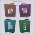 Office supply house related objects from left to right ruler shredder bin cupboard water dispenser banner vector icons set saved Stock Photos