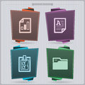 Office supply house related objects from left to right spreadsheet text document check list files folder banner vector icons set Stock Photo
