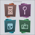 Office supply house related objects sandglass loupe calendar indentifer banner vector icons set saved as an eps Royalty Free Stock Photography