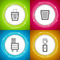 Office supply objects ruler shredder bin cupboard water dispenser atom vector icons set saved as an eps v Stock Images