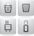 Office supply objects tools from left to right top to bottom shredder bin cupboard water dispenser all icons are part of the d Royalty Free Stock Photo