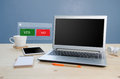 Office table with Notebook,equipment office and Yes or No Icon C Royalty Free Stock Photo