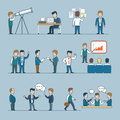 Office team life Flat line art style business peop Royalty Free Stock Photo