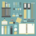 Office tools, supplies, and stationery icons set Royalty Free Stock Photo
