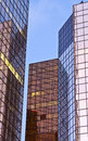 Office tower reflected colors colorful reflections in glass exteriors of several towers Royalty Free Stock Photo