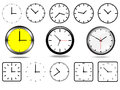 Office wall clocks and clock icons black white Stock Photo