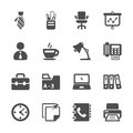 Office work icon set, vector eps10 Royalty Free Stock Photo
