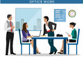 Office work. People working at computers in the office. Flat style Royalty Free Stock Photo