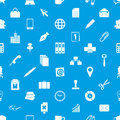Office work theme simple icons blue and white seamless pattern eps10 Royalty Free Stock Photo