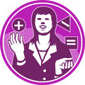 Office worker businesswoman juggling woodcut illustration of a female facing front square triangle circle with positive negative Stock Photo