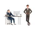 Office worker dressed in business suit sits at desk with computer and sleeps, his boss angrily looks at him. Concept of