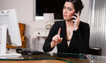 Office Worker Female Talking on Cell Phone Shaking Finger Royalty Free Stock Photo