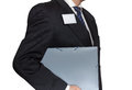 Office worker holding a folder with documents isolated Stock Photos