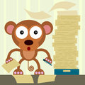 The office worker a humorous illustration of a monkey working inside an Stock Photography