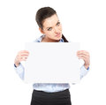 Office worker with a sheet of paper isolated on white Royalty Free Stock Image