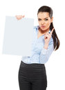 Office worker with a sheet of paper isolated on white Royalty Free Stock Photos