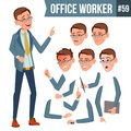 Office Worker Vector. Emotions, Gestures. Animation Creation Set. Business Person. Career. Modern Employee, Workman